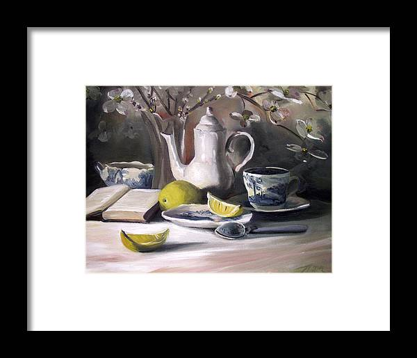 Lemon Framed Print featuring the painting Tea With Lemon by Nancy Griswold