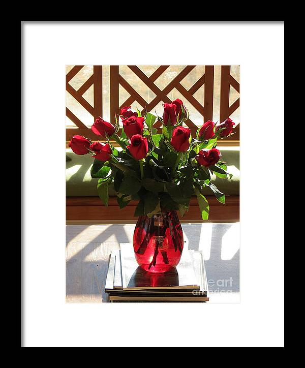 Aimee Mouw Framed Print featuring the photograph Teak And Roses by Aimee Mouw
