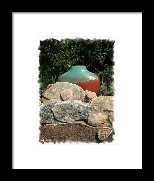 Landscape Framed Print featuring the photograph Teal And Brown Clay Pot by Judy Waller