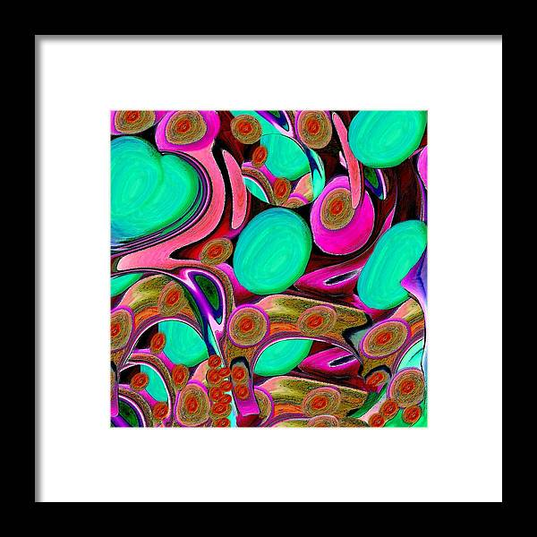 Abstract Framed Print featuring the mixed media Teal Heart With Eggs And Faces by Jacqueline Migell