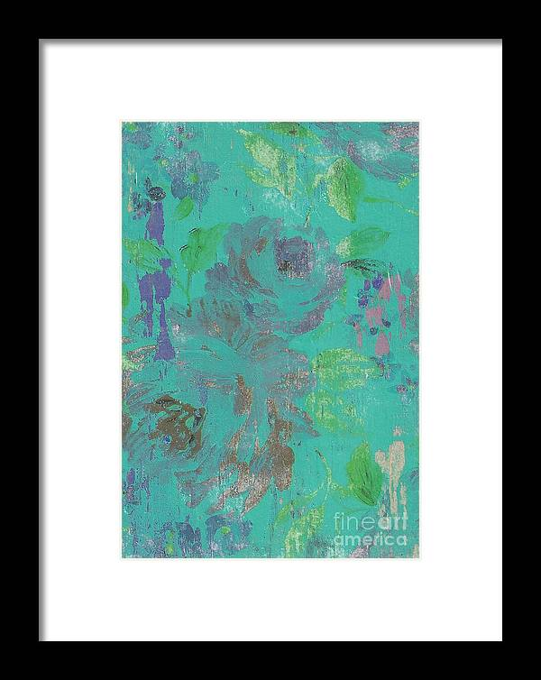 Floral Framed Print featuring the mixed media Teal Spring by Anna Caples