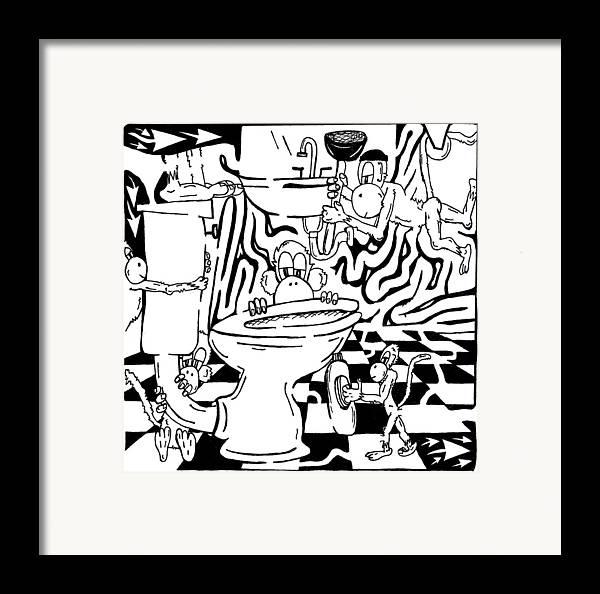 Team Of Monkeys Framed Print featuring the drawing Team Of Monkeys Plumbers Maze by Yonatan Frimer Maze Artist