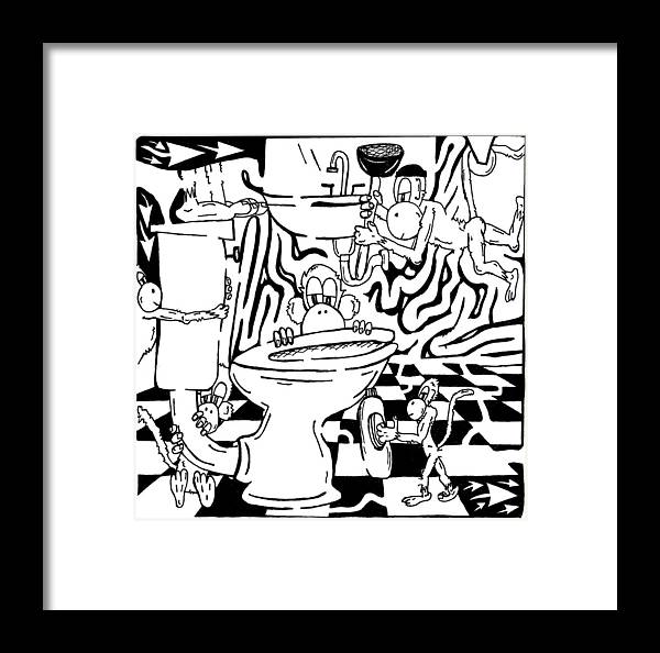 Team Of Monkeys Framed Print featuring the drawing Team Of Monkeys Plumbers Maze by Yonatan Frimer Maze Artist