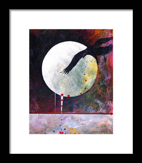 Raven Framed Print featuring the painting Tears For Fears by Sandy Applegate