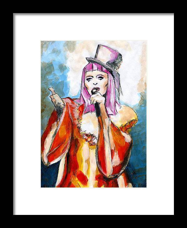Figurative Painting Framed Print featuring the painting Tears Of A Clown by KM Paintings