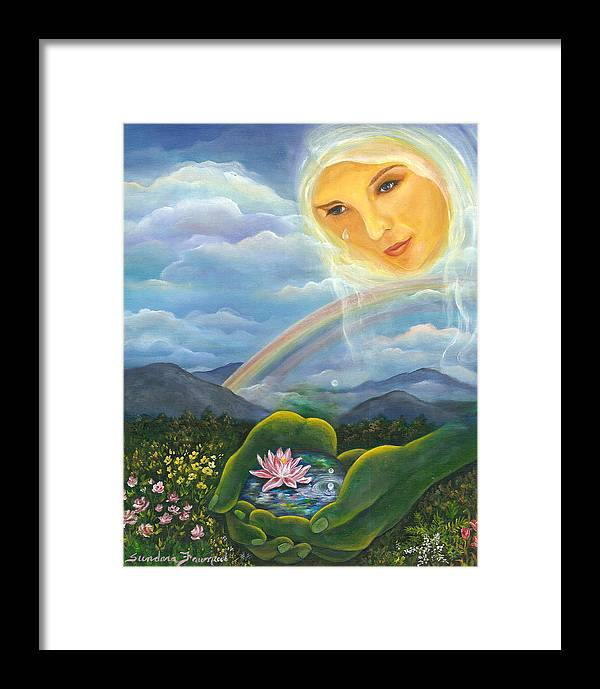 Lotus Framed Print featuring the painting Tears Of Devotion by Sundara Fawn