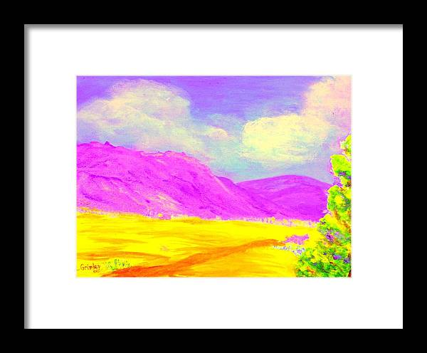 Mountains Framed Print featuring the painting Technicolor Desert by Lessandra Grimley