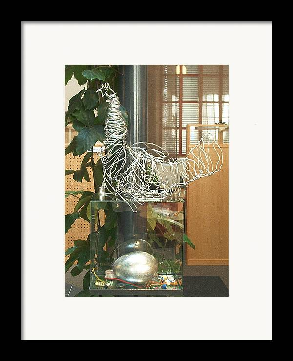 Framed Print featuring the sculpture Techno Hen by Jarle Rosseland