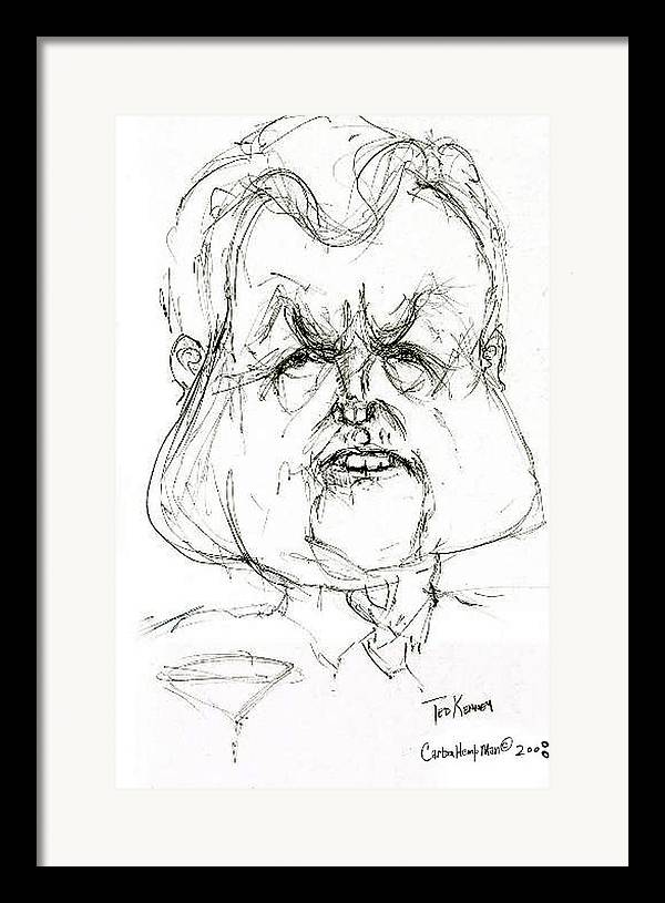 Political Cartoon Kennedy Graphite Paper Satire Framed Print featuring the drawing Ted Kennedy by Cartoon Hempman