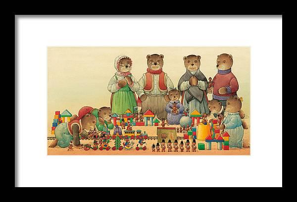Christmas Greeting Cards Teddybear Framed Print featuring the painting Teddybears and Bears Christmas by Kestutis Kasparavicius