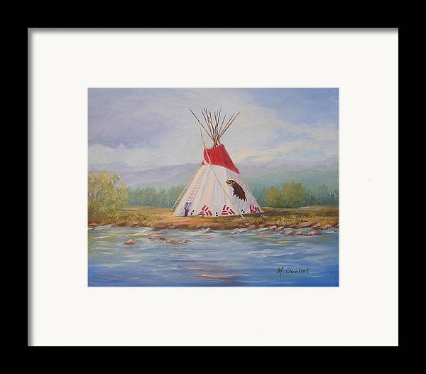 Landscape Framed Print featuring the painting Tee Pee by Maxine Ouellet