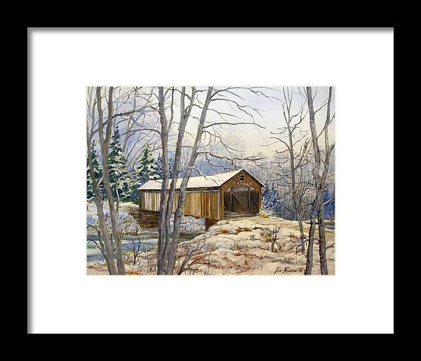 Oil Painting;bridge;covered Bridge;winter Scene;snow;landscape;winter Landscape; Framed Print featuring the painting Teegarden Covered Bridge In Winter by Lois Mountz