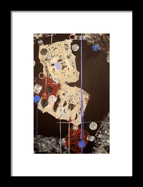 Abstract Framed Print featuring the painting Teeter by Ruth Palmer