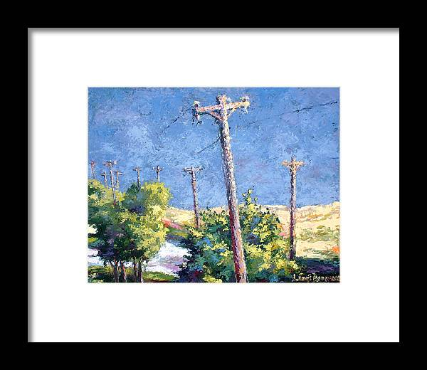 Landscape Painting Framed Print featuring the painting Telephone Poles Before The Rain by Lewis Bowman