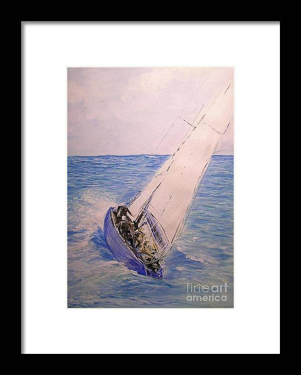 Seascape Framed Print featuring the painting Tell Tails In The Wind by Lizzy Forrester