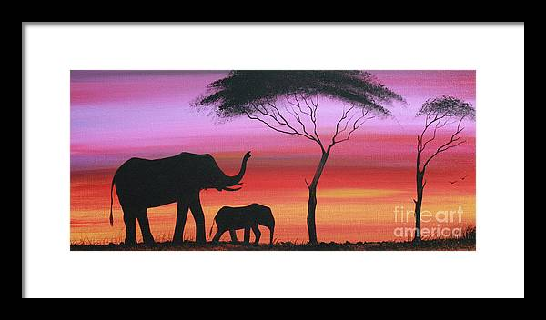 Painting Framed Print featuring the painting Tembo by Abu Artist