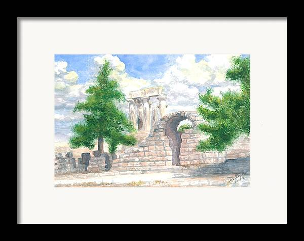 Grecian Temple Ruins Framed Print featuring the painting Temple Of Apollo - Corinth by Dan Bozich