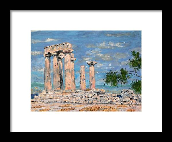 Landscape Framed Print featuring the painting Temple Of Apollo by Dan Bozich