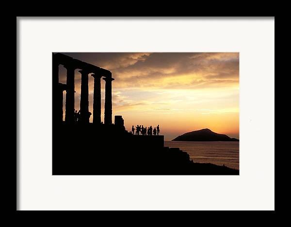 Tourists Framed Print featuring the photograph Temple Of Poseiden In Greece by Carl Purcell