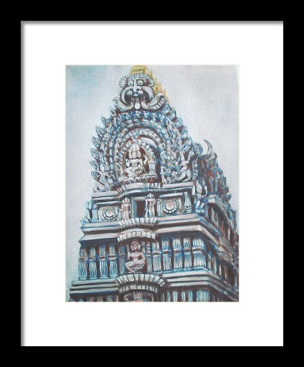 Temple Framed Print featuring the painting Temple by Usha Shantharam