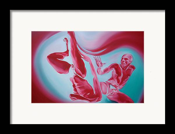 Erotic Male Nudes Figurative Abstract Red Framed Print featuring the painting Temptation by Davinia Hart