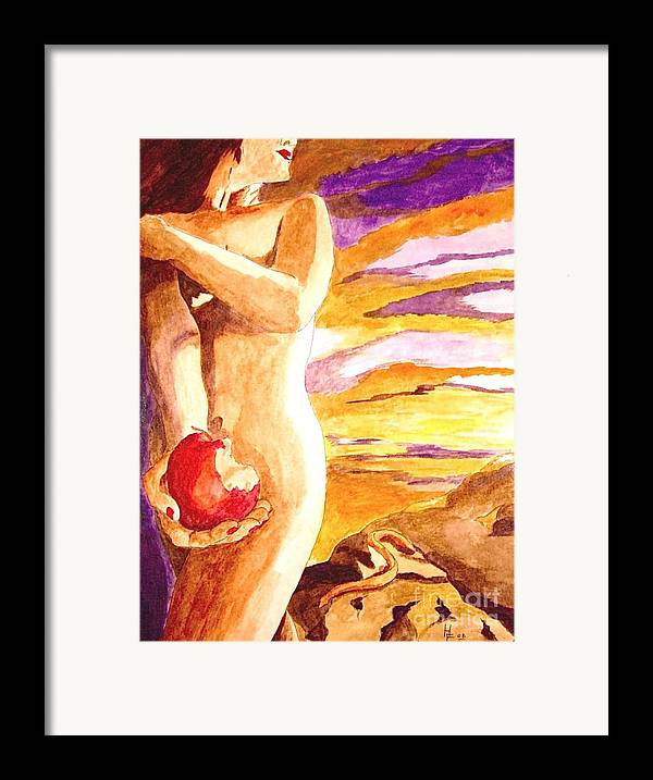 Watercolor Framed Print featuring the painting Temptation by Herschel Fall