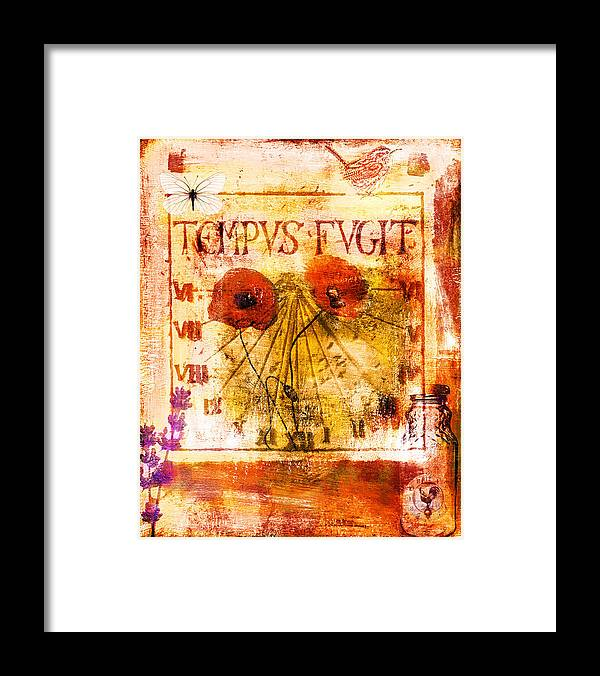 Collage Framed Print featuring the painting Tempus Fugit by Jude Reid