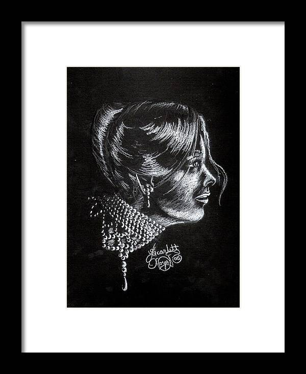 Face Framed Print featuring the drawing Ten Minute Sketch by Scarlett Royal