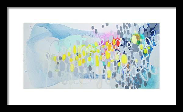 Abstract Framed Print featuring the painting Ten O'clock Flight by Claire Desjardins