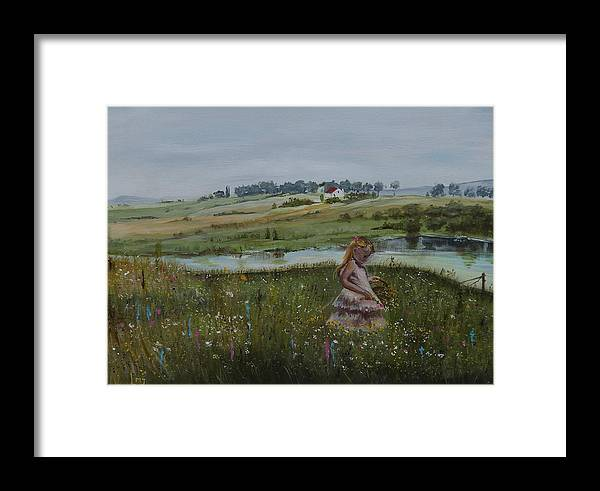 Impression Framed Print featuring the painting Tender Blossom - Lmj by Ruth Kamenev