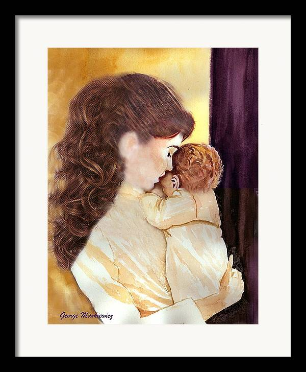 Mother And Baby Framed Print featuring the print Tenderness by George Markiewicz