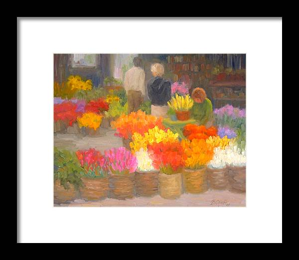 Flowers Framed Print featuring the painting Tending Flowers - Amsterdam by Bunny Oliver