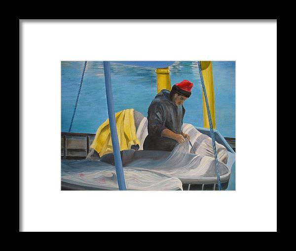Italy Framed Print featuring the painting Tending Nets by Joe Lanni