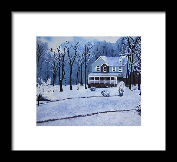 Landscape Framed Print featuring the painting Tennessee Winter In The Smokies by Beth Parrish