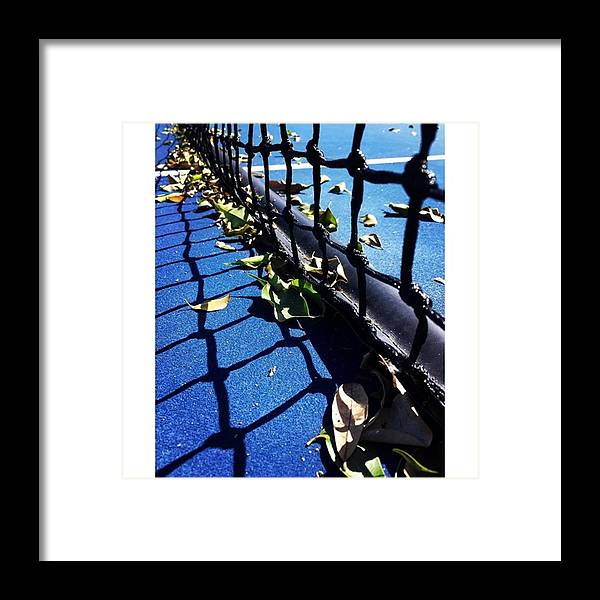 Blue Framed Print featuring the photograph Tennis Net With Leaves by Juan Silva
