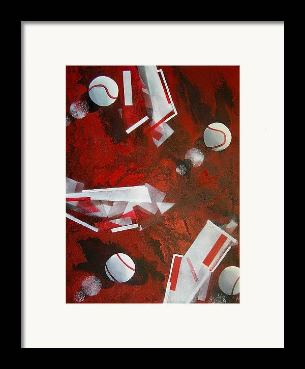 Tennis Balls Framed Print featuring the painting tennis on Mars by Evguenia Men