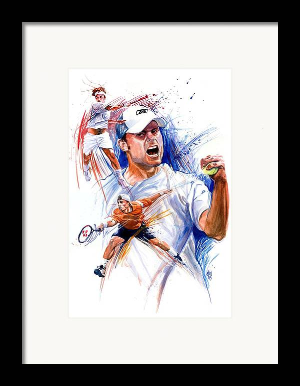 Tennis Players Framed Print featuring the painting Tennis Snapshot by Ken Meyer jr
