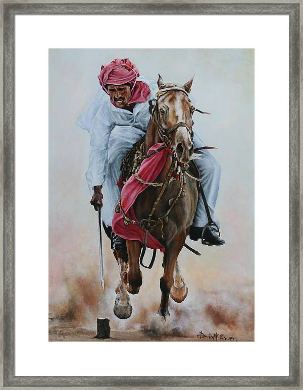 Equestrian Framed Print featuring the painting Tent Pegging by David McEwen & Tent Pegging Framed Print by David McEwen