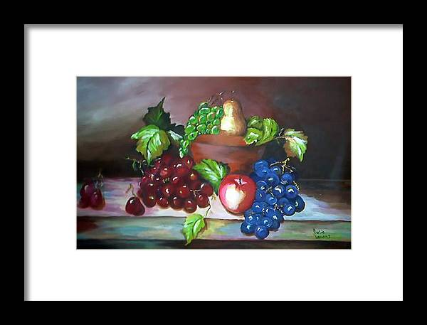 Still Life Framed Print featuring the painting Terra Cotta Bowl by Julie Lamons