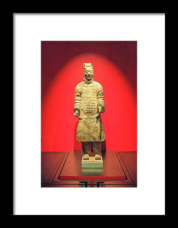 Seattle Framed Print featuring the photograph Terracotta Warrior A Brave Commanding Officer  by Allan Levin