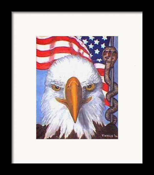 Freedom Eagle Cobra Flag Framed Print featuring the print Terrorists Are Slithering In On The Backside Of Our Freedom by Tanna Lee M Wells