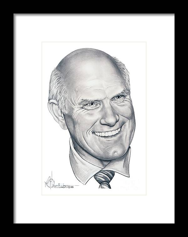 Terry Bradshaw Framed Print featuring the drawing Terry Bradshaw-murphy Elliott by Murphy Elliott