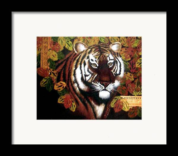 Tiger Framed Print featuring the painting Tessas Tiger by Darlene Green