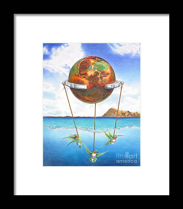 Surreal Framed Print featuring the painting Tethered Sphere by Melissa A Benson