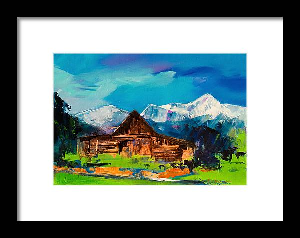 Barn Framed Print featuring the painting Teton Barn by Elise Palmigiani