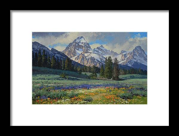 Landscape Framed Print featuring the painting Teton Splendor by Lanny Grant
