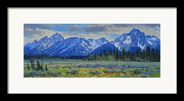 Landscape Framed Print featuring the painting Teton Summer by Lanny Grant