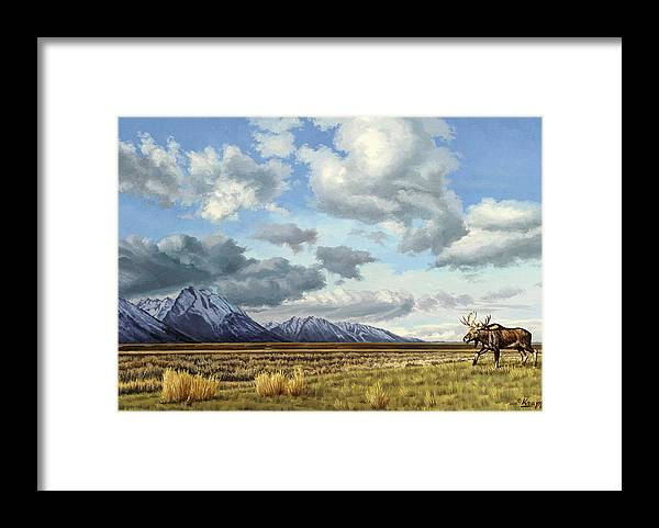 Teton National Park Framed Print featuring the painting Tetons-Moose by Paul Krapf