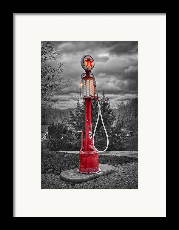 Gas Pumps Framed Print featuring the photograph Texaco Gas Pump by Williams-Cairns Photography LLC