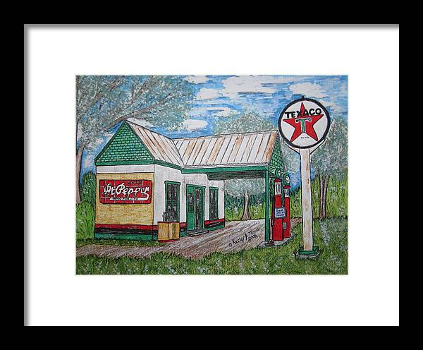 Nostalgia Framed Print featuring the painting Texaco Gas Station by Kathy Marrs Chandler